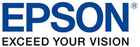 Blue and black Epson logo.