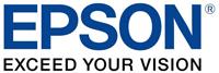 Blue and black Epson logo.