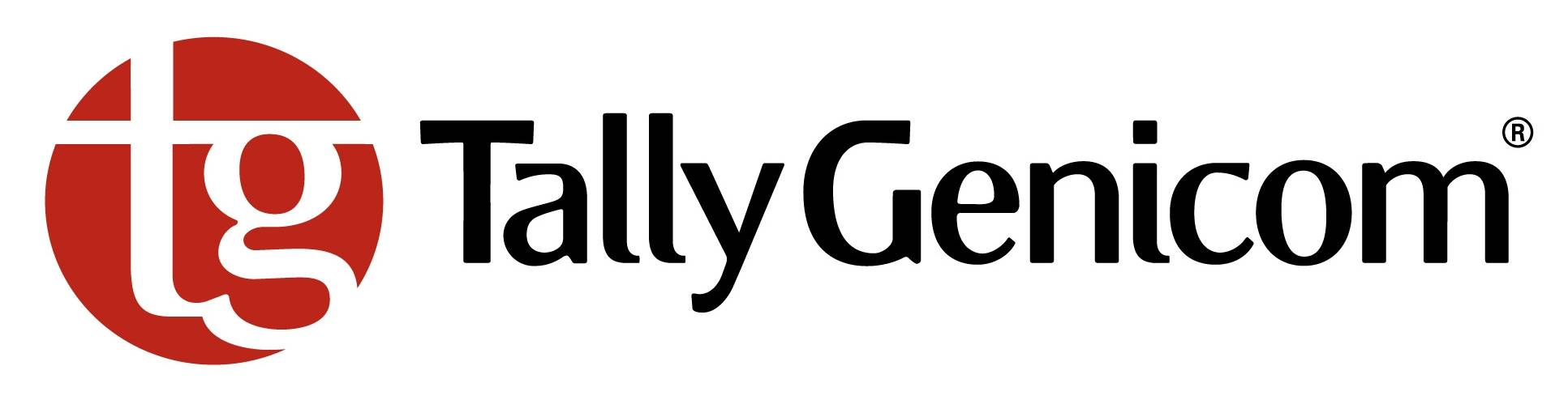 Red and black Tally Genicom logo.