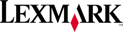 Black and red Lexmark logo.