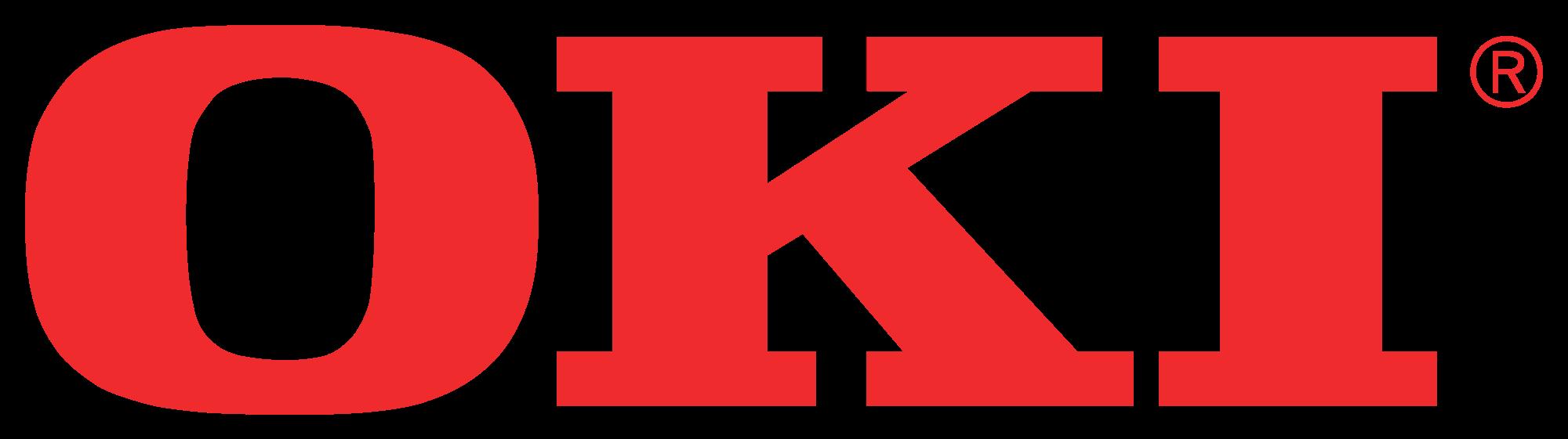 Bright red OKI logo