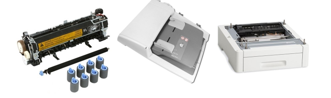 Picture of printer components including toner cartridge, duplex component, and paper tray.
